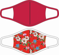 Mondkapje Dames:  Red Flowers/Rood 2-pack